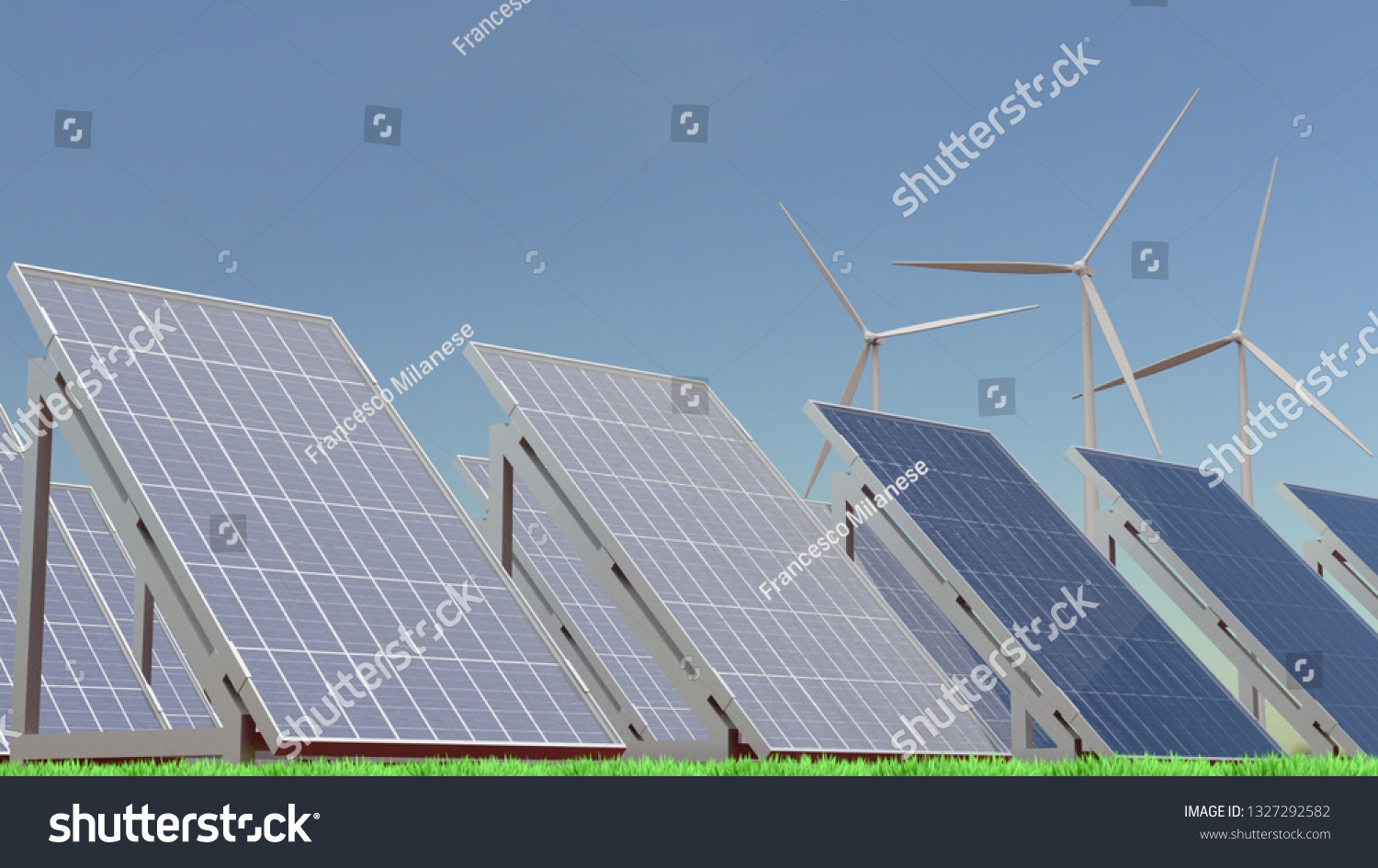 3D rendering illustration of solar panels and wind turbines on a grass field by Francesco Milanese on Shutterstock